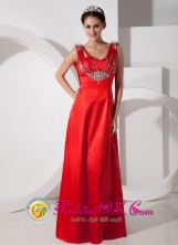2013 Lambayeque Peru Fall Chic Red Empire V neck Floor length Straps Satin Beading wholesale Prom Dress Style GNTB080816FOR
