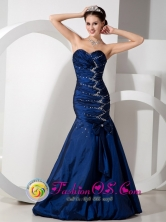 2013 Moyobamba Peru Spring Elegent Blue Mermaid Sweetheart Ruched Bodice Floor length Taffeta Beading and Ruch wholesale Prom Dress Style GNTB080820FOR