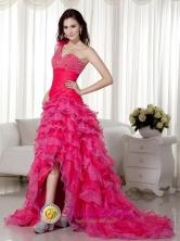2013 Paita Peru Sexy Hot Pink A-line One Shoulder Brush Train Organza Beadin wholesale Evening Dress Style MLXN056FOR