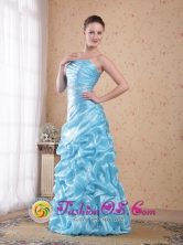 2013 Spring Aqua Blue Organza Beading Column Prom Dress with Pick-ups inSucre Bolivia Wholesale Style PDHXQ101FOR