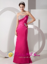 2013 Tarma Peru Spring Hot Pink wholesale Evening Dress Beading and Ruch Sweetheart Brush Train Taffeta Style GNTB080822FOR