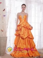 Andahuaylas Peru Custom made Taffeta Orange Princess 2013 wholesale Prom Dress Straps Floor-length Beading Style PDHXQ051FOR