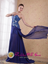 Blue Sweatheart Prom Dress with sequince Empire Chiffon Beading for Formal Evening inPotosi Bolivia Wholesale Style PDHXQL005FOR