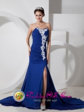 Casa Grande Peru Customer Made Blue Column Sweetheart Brush Train High Slit Chiffon Appliques and Ruch wholesale Prom Dress Style GNTB080817FOR