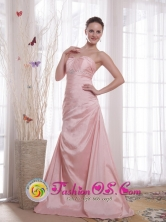 Chiclayo Peru Customize Pink Evening Dress Ruched Bodice A Line Sweetheart wholesale Taffeta Beading Style PDHXQ060FOR