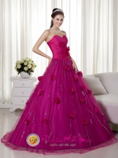 Chimbote Peru Spring Brush Train and Hand Made Flowers wholesale Quinceanera Dress With Fuchsia Sweetheart Style MLXN057FOR