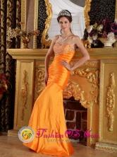 Customer Made Beautiful Orange Column  Sheath Sweetheart Floor-length Strapless Beading Taffeta Prom  Pageant Dress INTrinidad Bolivia Wholesale Style PDML021FOR