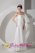Customize Elegant Popular Empire Sweetheart Brush Train Chiffon Appliques and Ruch Wedding Dress in GuayaramerBolivia Style MLXN080801FOR
