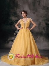 Customize Organza Beading Yellow V-neck Brush Train A-line Prom Evening Dress inRiberalta Bolivia Wholesale Style TXFD827013FOR