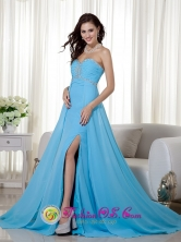 Customize Sexy Baby Blue Empire Sweetheart Brush Train Chiffon Beading and Ruch wholesale Prom Dress Style MLXN154FOR