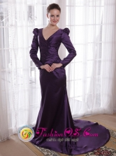 Dark Purple V-neck long Sleeves Sheath Brush Taffeta Mother of the Bride Dress IN Bermejo Bolivia Wholesale Style PDHXQ195275FOR
