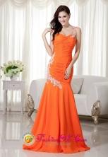 Elegant Orange Mermaid Evening Dress One Shoulder Brush Train Chiffon Appliques Decorate IN Montero Bolivia Wholesale Style MLXNHY004FOR