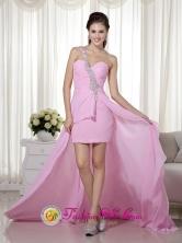 High-low One Shoulder Chiffon Beading Decorate  heath Modest Pink Prom Dress  in San Ignacio Bolivia Style MLXN161FOR
