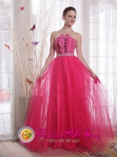 Hot Pink Formal Evening Dress A-Line Tulle Beading for 2013 Spring Prom  inCochabamba Bolivia Wholesale Style PDHXQ078FOR