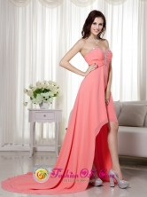 Imperial Peru Elegant Watermelon Empire Sweetheart High low Chiffon Beading and Ruch wholesale  Prom Dress for Graduation Style MLXN156FOR