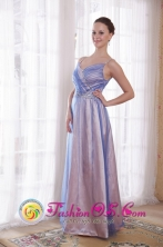 Juliaca Peru Straps wholesale Prom Floor length  Dress with Lilac Empire Tulle and Taffeta Beading Style PDATS128FOR