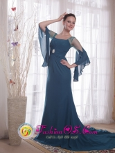 La Union Peru wholesale Spring Navy Blue Sleeves Column Square Brush Chiffon Mother of the Bride DressStyle PDHXQ195255FOR