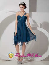 Navy Blue Chiffon Prom Dress Empire Beading and Ruch Knee-length One Shoulder IN Sucre Bolivia Style JSY080812FOR