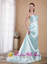 One Shoulder Light Blue Brush Train Ruch Empire Elastic Woven Satin Beading Homecoming Dress