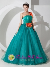 One Shoulder Organza Formal A-line With Hand Made Flowers Custom Made IN Tarija Bolivia Wholesale Style MLXNHY010FOR