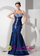 Perene Peru Navy Blue Mermaid Sweetheart Taffeta Ruch and Beading wholesale Evening Dress for 2013 Party Style GNTB080824FOR