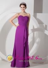 Pichanaqui Peru Sweetheart Floor length Purple wholesale Chiffon Dress Ruffled Ruch for 2013 Prom Style JSY080807FOR