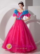 Pretty Quinceanera Dress  Off The Shoulder and Short Sleeves With Belt in Camiri Bolivia Style MLXNHY09FOR