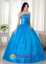 Puerto Maldonado Peru Ruched Bodice and Beading For Sky Blue Taffeta  Sweet 16 wholesale Ball Gown Dress Style MLXNEBAY02FOR