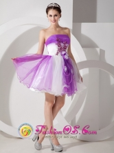 Sassy Purple and White A-line Mini-length Organza  Prom Dress Hand Made Flowers Feature IN Quillacollo Bolivia Style MLXNHY07FOR