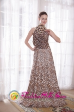 Sexy Empire Evening Gown Pleats High-neck Brush Train Leopard Beading in La Paz Bolivia Wholesale Style PDATS120FOR