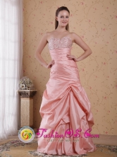 Sicuani Peru Baby Pink Taffeta Beading Column Sweetheart Floor length and Ruch 2013 wholesale Prom Dress Style PDHXQ038FOR