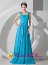 Square Empire  Brush Train Chiffon Ruch Teal Dress for 2013 Prom Santa Cruz Bolivia  Style JSY080803FOR