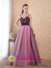 Straps Floor-length Tulle Appliques Rose Pink A-Line  Princess Spaghetti Dress For Homecoming IN Tupiza Bolivia Wholesale Style PDHXQ047FOR