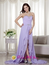 Sweetheart Beading Decorate Brush Train Chiffon Coral Prom Dress For 2013 in  apacani Bolivia Style MLXN160FOR