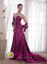 Sweetheart Beading Purple A-Line Court Train Taffeta Evening Dress for Fall in Tarija Bolivia Wholesale Style PDATS131FOR