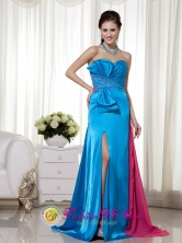 Sweetheart  Bowknot and Beading  Chiffon and Elastic Woven Satin Teal and Hot Pink Prom Dress  in Colcapirhua Bolivia Style MLXN166FOR