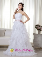 Sweetheart Stapless  Princess Organza Beading White  Prom Dress IN Cochabamba Bolivia Wholesale Style MLXN162FOR
