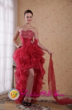 Sweetheart wholesale Prom Dress with High low Organza Red Column Beading Style PDATS366FOR