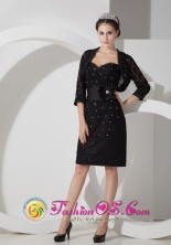 Tingo Maria Peru Black Lace Column wholesale  Prom Dress Sweetheart Beading with Matching Jacket Style GNTB080826FOR