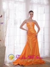 Trujillo Peru For 2013 Prom Elegant Orange Sheath Strapless Sweep Train Taffeta wholesale Beading Style PDHXQ063FOR
