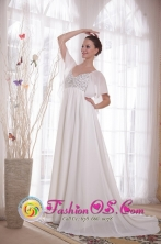 White Short sleeves A-Line V-neck Court Train Chiffon Beading Mother Of The Bride Dress for Spring in Oruro Bolivia Wholesale Style PDATS129FOR