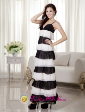 White and Black Empire Spaghetti Straps Ankle-length Chiffon Dramatic Cake Dress  IN Sucre Bolivia Style MQR002FOR