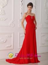 ustomize Classical Red Column Sheath Sweetheart Sweep  Brush Train Chiffon Beading Prom Dress inTrinidad Bolivia Wholesale Style PDML088FOR
