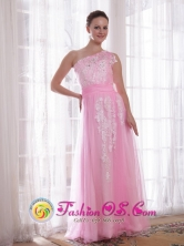 2013 La Ceiba Honduras One Shoulder Pink Sheath Floor-length Tulle and Taffeta Embroidery and Rhinestones Evening Dress Wholesale Style PDATS7760FOR