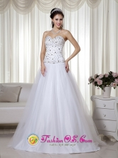 2013 Manati Puerto Rico Taffeta and Tulle Beading Prom Dress with White A-line Sweetheart Floor-length Wholesale  Style MLXN019FOR