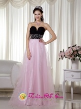 2013 Potrerillos Honduras Pink and Black Beading Tulle Evening Dress A-line Sweetheart Floor-length  Wholesale Style MLXN027FOR