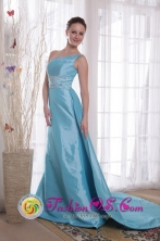 2013 Wangaratta VIC Wholesale Light Blue One Shoulder Column Watteau Train Beading Taffeta Dama Dresse Style PDHXQ194274FOR
