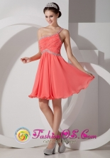 2013 Western Australia SA Wholesale One Shoulder   Watermelon Empire Chiffon Beading and Ruch Dama   Dresses Style JSY080801FOR