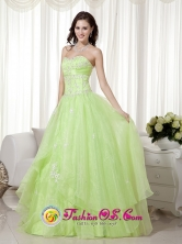 2013 Wollongon NSW Wholesale Sweet Yellow Green A-line Sweetheart Floor-length Organza Beading Dama Dresses Style MLXN075FOR