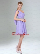 2015 Sassy Beaded and Ruched Short Dama Dress in Lavender BMT005BFOR